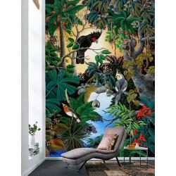 Tapisserie d'artiste format vertical - Perroquets dans la jungle luxuriante
