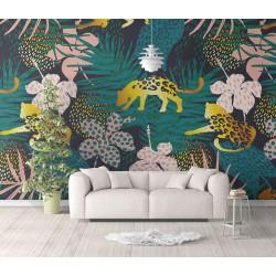 Papier peint contemporain couleur jaune doré, rose, vert, bleu - Les félins dans la jungle