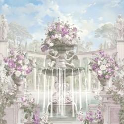 Art et architecture anciens - Colonnes en demi cercle, fontaine, statues, anges et fleurs mauves