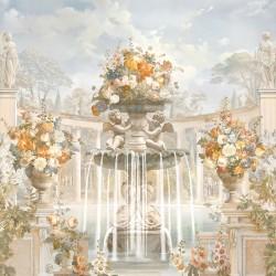 Jardin et architecture anciens effet sépia - Colonnes en demi cercle, fontaine, statues, anges et fleurs oranges
