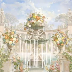 Jardin et architecture anciens - Colonnes en demi cercle, fontaine, statues, anges et fleurs multicolores