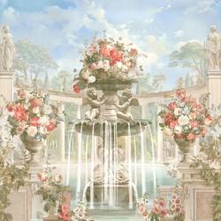 Jardin et architecture anciens - Colonnes en demi cercle, fontaine, statues, anges et fleurs rouges blanches