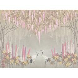 Grues du Japon et libellules sous saules pleureurs et glycine, fleurs roses sur fond gris clair