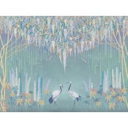 Grues du Japon et libellules sous saules pleureurs et glycine, fleurs mauves sur fond turquoise gris