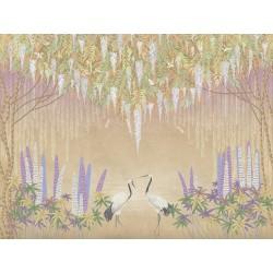Grues du Japon et libellules sous saules pleureurs et glycine, fleurs mauves effet sépia