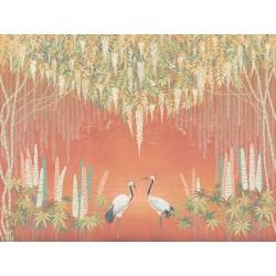Grues du Japon et libellules sous saules pleureurs et glycine, fond orange effet coucher du soleil