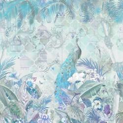 Paon bleu dans jardin tropical avec fleurs et oiseaux, ton turquoise