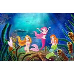 Tapisserie fond marin chambre fille - Les princesses de la mer