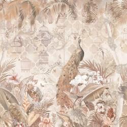 Paon dans jardin tropical avec fleurs et oiseaux, effet sépia