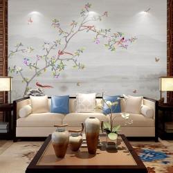 Paysage zen avec fleurs, oiseaux et papillons, ton gris