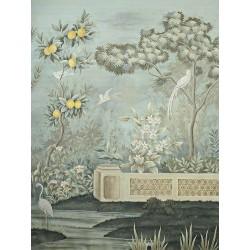 Citronnier dans jardin avec fleurs et oiseaux, ton vert pastel