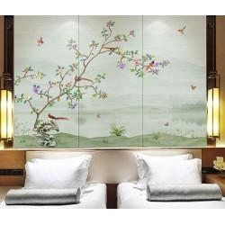 Paysage zen avec fleurs, oiseaux et papillons, ton vert