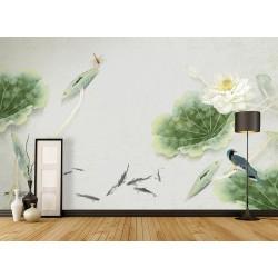 Peinture asiatique zen - Lotus blanc, oiseau bleu, libellule rouge, poisson noir sur fond gris clair