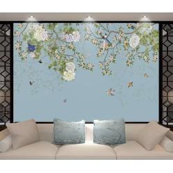 Arbres en fleurs, pivoines, oiseaux et papillons, fond bleu pastel