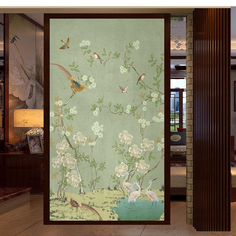 Peinture Asiatique Vert Zen Fleurs Et Oiseaux Sur Mur En Béton Atelier Wybo
