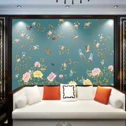 Décor floral chinoiserie - Fleurs, oiseaux et papillons sur fond bleu-vert