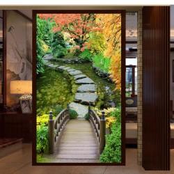 Paysage trompe l'œil 3D jardin zen - Pont en bois et pas japonais sur le bassin - Extension d'espace