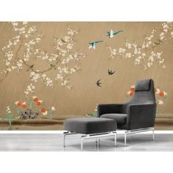 Tapisserie florale chinoiserie - Fleurs et oiseaux sous la pluie, fond marron, aspect ancien