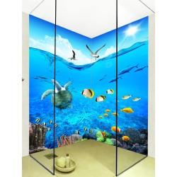 Crédence bleue salle de bain - Tortue et poissons tropicaux dans l'océan