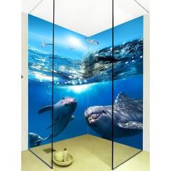 Panneau 3D étanche photo imprimée HD habillage cabine de douche - Les dauphins dans l'océan