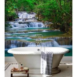 Décoration salle de bain murs de baignoire cabine de couche - Chute d'eau dans la forêt tropicale