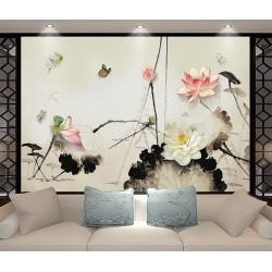Panneau chinois fleur zen - Lotus et papillons en effet bas relief, aspect sur mur peint traditionnel