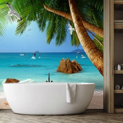 Revêtement mural en PVC photo imprimée salle de bain moderne - Plage tropicale, cocotiers et dauphins