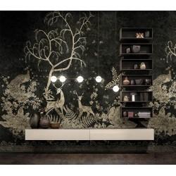 Papier peint d'artiste animaux et oiseaux sur fond noir - Cerfs sous l'arbre, paon dans les fleurs