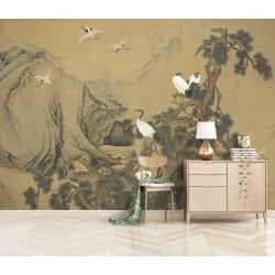 Peinture asiatique ancienne peinte sur toile - Grue du Japon et pin dans la montagne nuageuse