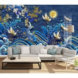 Grues du Japon s'envolent dans la nuit bleue, carpes dans vagues dorées, arbre de mei en floraison