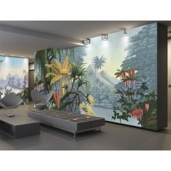 Jungle en couleur - Bananier, saule pleureur, cocotier et fleurs exotiques