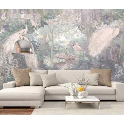Jungle enchantée - Oiseaux exotiques et fleurs tropicales - Couleur froide