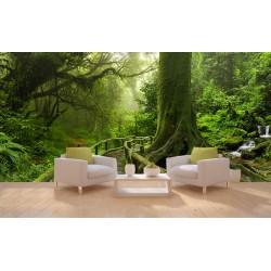 Panneau mural XXL paysage trompe l'œil 3D photoréaliste - Pont en bois dans la forêt primaire