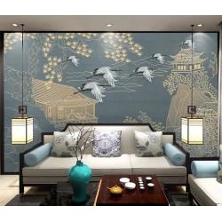 Papier mural japonais bleu gris couleur doré - Paysage zen ambiance nature grue, montagne et rivière