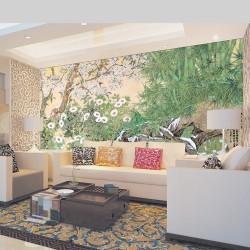 Panneau Chinois Panoramique Bambou Cerisier Fleur sous la Neige