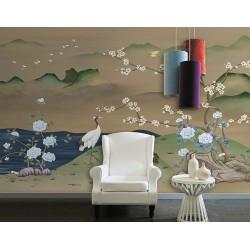 Fresque murale ancienne paysage avec fleurs et oiseaux - Grue, fleur de mei et pivoine, ton marron vert