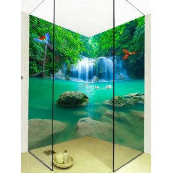 Habillage étanche photoréaliste effet 3D - Cascade dans la forêt avec perroquet, décoration originale parois de douche