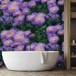 Crédence salle de bain PVC imprimé fleur sauvage - Marguerite violette