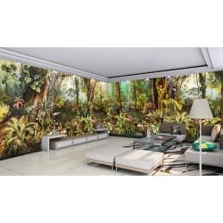Sous bois dans la jungle avec panthère et perroquets, aspect ancien