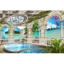 Panneau panorama 180 degrés paysage trompe l'œil 3D photoréaliste - Vacances aux îles de paradis, palais avec colonne classique