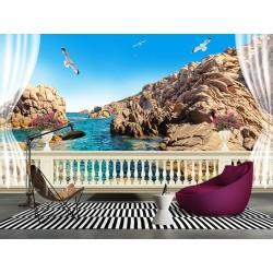 Paysage littoral trompe l'œil 3D extension d'espace - Côte rocheuse devant mon balcon