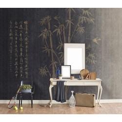 Tapisserie murale beige or - Bambou et calligraphie chinoise sur fond noir, effet textile