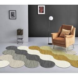 Tapis contemporain en forme de vague, couleur blanc, beige, gris, jaune, or
