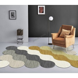 Tapis contemporain inspiration vague, couleur blanc, beige, gris, jaune, or