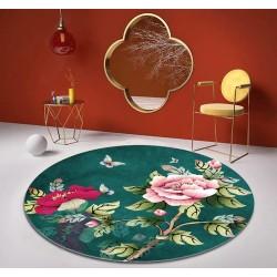 Tapis chinois floral forme ronde - Pivoine avec papillon sur fond vert foncé