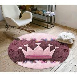Tapis rose chambre enfant forme ronde - Couronne de princesse