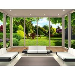 Paysage trompe l'œil 3D - Baie vitrée panoramique, jardin ensoleillé