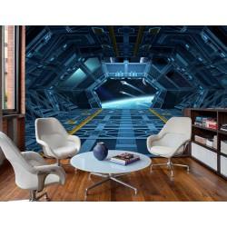 Univers et planète vue depuis cabine de vaisseau spatial - Scène de science-fiction trompe l'œil 3D