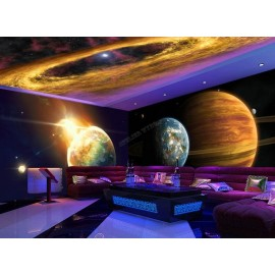 Univers mystérieux - Planète géante avec anneau, terre bleue, éruption solaire