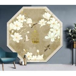 Tapis vintage forme octogonale motif asiatique ton beige - Magnolia blanc et oiseaux, cage doré